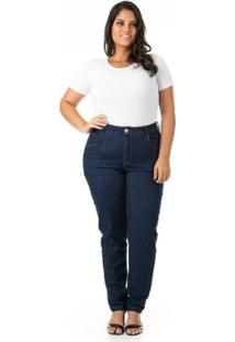 Calça Jeans Tradicional Básica Plus Size Confidencial Extra Feminina - Feminino-Azul