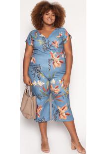 Macacã£O Almaria Plus Size Quebela Clamart Azul Jeans - Azul/Estampado/Floral - Feminino - Poliã©Ster - Dafiti