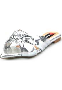 Sandalia Love Shoes Rasteira Bico Folha Nó Metalizadas Prata - Tricae