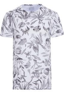 Camiseta Masculina Fullprint Floral Carnaval - Branco