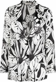 Laneus Blazer Com Estampa Floral - Branco