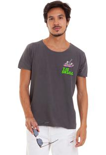 Camiseta Estonada Corte À Fio Estampada Joss Caixão Skull Chumbo
