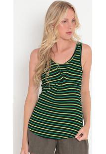 Blusa Listrada Canelada- Preta & Verde Claro- Colccicolcci