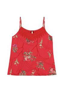 Blusa Lunender Com Alças Floral Guipir Vermelha Tam. P
