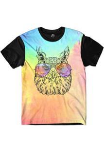 Camiseta Bsc Animais Hipster Coruja Brava Sublimada - Masculino-Rosa
