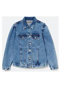 Jaqueta Jeans Liso Com Mangas Bufante Curve & Plus Size Azul