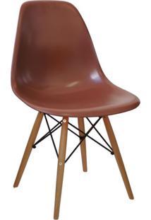 Cadeira Eames Base Madeira E Café