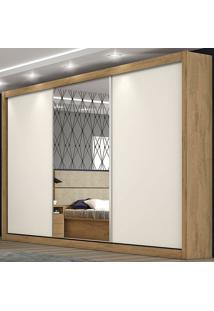 Guarda-Roupa Casal 3 Portas E Gavetas Toronto - Móveis Europa - Amendoa / Off White