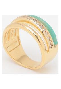 Anel Em Zircônia Banhado A Ouro 18K- Dourado & Verde Águkumbaya