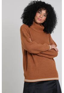 Blusa Feminina Em Tricô Gola Alta Caramelo