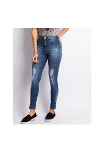 Calça Jeans Skinny Lavagem Escura Destroyer Com Rebite Jeans