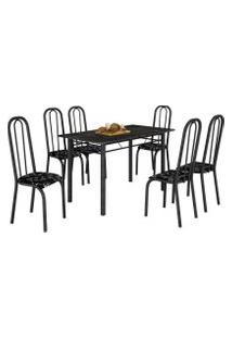 Mesa De Jantar Realeza 6 Cadeiras Lírio Martelado E Tampo Preto
