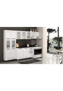 Cozinha Compacta Pérola 3 Peças 5 Portas De Vidro E Balcão Com Tampo Telasul Branco/Preto