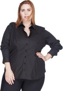 Camisa Acinturada Algodão Com Elastano Bold Plus Size Preto
