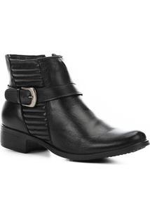 Bota Couro Cano Curto Shoestock Matelassê Feminina - Feminino-Preto