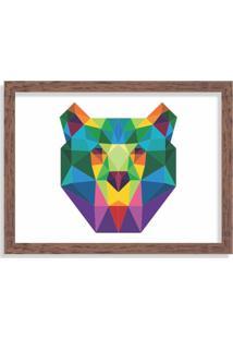 Quadro Decorativo Urso Abstrato Colorido Madeira - Grande