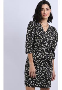Vestido Feminino Curto Transpassado Estampado Floral Com Faixa Para Amarrar Manga Bufante Preto