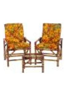 Conjunto Mesa E 2 Cadeiras De Bambu Cancun Para Área Edicula Jardim G02