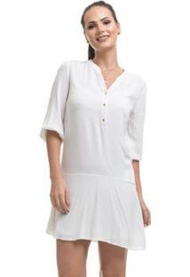 Vestido Clara Arruda Viscose Manga Longa - Feminino-Off White