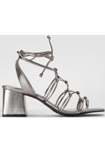 Sandália Tirinhas E Nó Metalizado