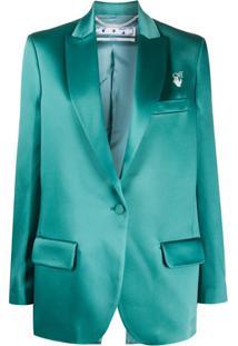 Off-White Blazer Com Abotoamento Simples - Verde