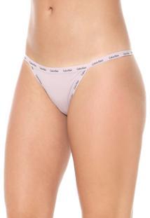 Calcinha Calvin Klein Underwear Tanga Mini Logo Rosa