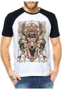 Camiseta Criativa Urbana Raglan Alce Selvagem - Masculino