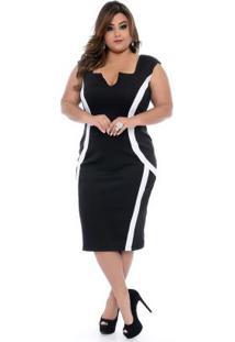Vestido Preto Recortes Plus Size