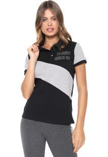 Camisa Polo Planet Girls Recortes Preta/Cinza