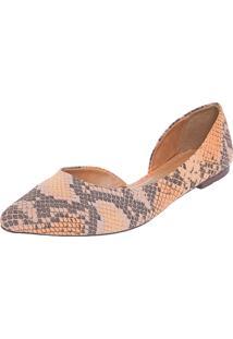 Sapatilha Dafiti Shoes Dorsay Cobra Laranja/Cinza
