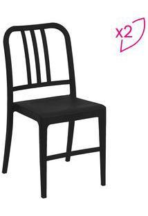 Or Design Jogo De Cadeiras Navy Preto 2Pã§S