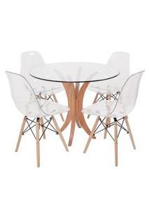 Conjunto Mesa De Jantar Em Vidro 90Cm Com 4 Cadeiras Eiffel Transparente