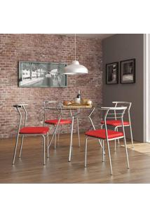 Mesa 1527 Vidro Incolor Cromada Com 4 Cadeiras 1708 Cromada Vermelha Carraro