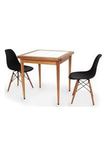 Conjunto Mesa De Jantar Em Madeira Imbuia Com Azulejo + 2 Cadeiras Eames Eiffel - Preto