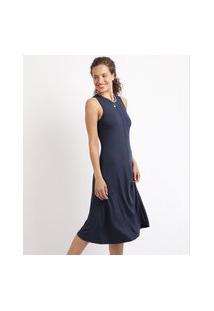 Vestido Feminino Midi Canelado Sem Manga Azul Marinho