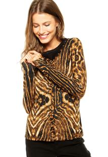 Suéter Queens Animal Print Marrom/Preto
