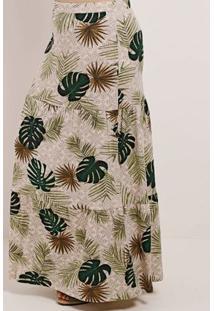Saia Longa Plus Size Feminina Autentique Bege/Verde