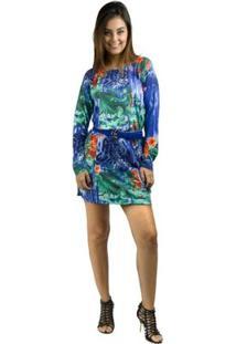 Vestido Banna Hanna Estampado Floral Azul/Verde/Laranja - Feminino-Floral