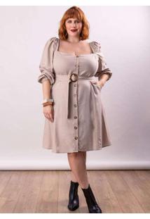 Vestido Curto Linho Almaria Plus Size Lady More Om