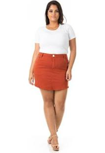 Saia Jeans Destroyed Color Plus Size Confidencial Extra Feminina - Feminino-Marrom