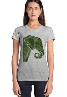 Camiseta Joss Básica Elefante De Lado Feminina - Feminino-Cinza