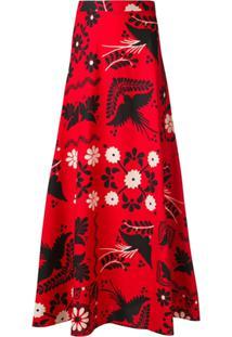 Red Valentino Saia Longa Estampada - Vermelho