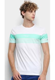 Camiseta Tommy Hilfiger Block Stripe Masculina - Masculino-Verde+Branco