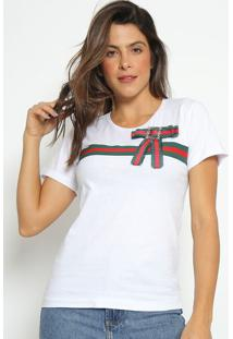 Blusa Com Recorte & Laã§O- Branca & Vermelha- Fashionfashion 500