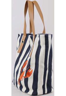 Bolsa Feminina Shopper Listrada Com Bordado Off White