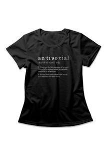 Camiseta Feminina Antisocial Preto