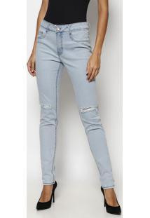 Jeans Skinny Com Destroyed - Azul Claro- Tuaregtuareg