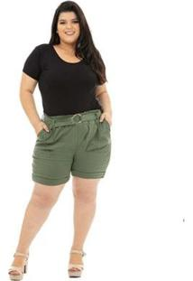 Shorts Plus Size Catwalk Clochard Feminina - Feminino-Verde