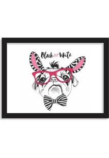 Quadro Decorativo Black Or White Pug Preto - Grande
