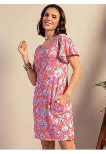 Vestido Curto Floral Rosa Com Decote Quadrado